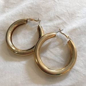 Shiny Gold Hoops - never worn!